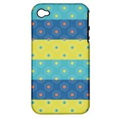 Hexagon And Stripes Pattern Apple Iphone 4/4s Hardshell Case (pc+silicone) by DanaeStudio