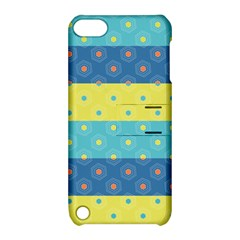 Hexagon And Stripes Pattern Apple Ipod Touch 5 Hardshell Case With Stand by DanaeStudio
