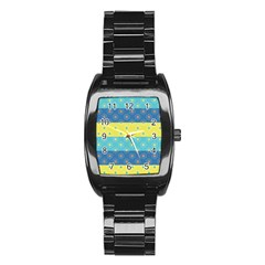 Hexagon And Stripes Pattern Stainless Steel Barrel Watch by DanaeStudio