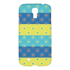 Hexagon And Stripes Pattern Samsung Galaxy S4 I9500/i9505 Hardshell Case by DanaeStudio