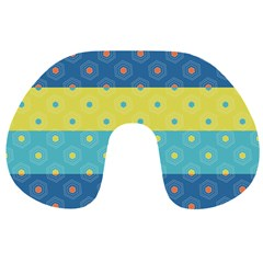 Hexagon And Stripes Pattern Travel Neck Pillows by DanaeStudio