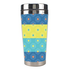 Hexagon And Stripes Pattern Stainless Steel Travel Tumblers by DanaeStudio
