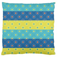 Hexagon And Stripes Pattern Large Flano Cushion Case (one Side) by DanaeStudio