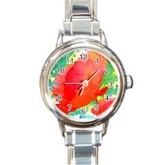 Lovely Red Poppy And Blue Dots Round Italian Charm Watch by DanaeStudio