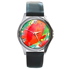 Lovely Red Poppy And Blue Dots Round Metal Watch by DanaeStudio