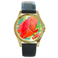 Lovely Red Poppy And Blue Dots Round Gold Metal Watch by DanaeStudio