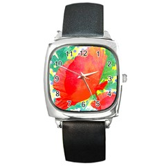 Lovely Red Poppy And Blue Dots Square Metal Watch by DanaeStudio