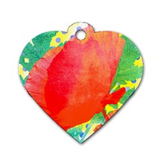 Lovely Red Poppy And Blue Dots Dog Tag Heart (two Sides) by DanaeStudio