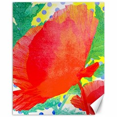 Lovely Red Poppy And Blue Dots Canvas 11  X 14   by DanaeStudio