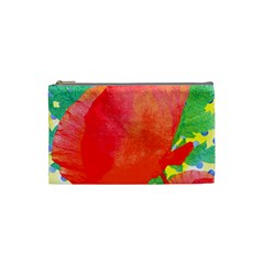 Lovely Red Poppy And Blue Dots Cosmetic Bag (small)  by DanaeStudio
