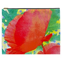 Lovely Red Poppy And Blue Dots Cosmetic Bag (xxxl)  by DanaeStudio