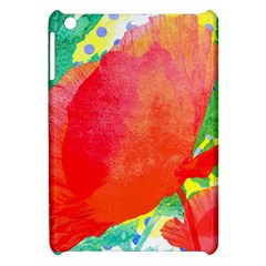 Lovely Red Poppy And Blue Dots Apple Ipad Mini Hardshell Case by DanaeStudio