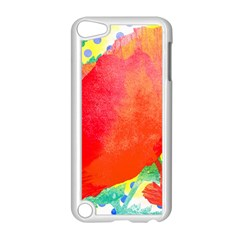 Lovely Red Poppy And Blue Dots Apple Ipod Touch 5 Case (white) by DanaeStudio