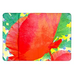 Lovely Red Poppy And Blue Dots Samsung Galaxy Tab 8 9  P7300 Flip Case by DanaeStudio