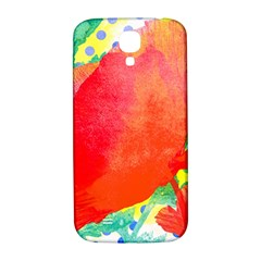 Lovely Red Poppy And Blue Dots Samsung Galaxy S4 I9500/i9505  Hardshell Back Case by DanaeStudio