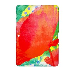 Lovely Red Poppy And Blue Dots Samsung Galaxy Tab 2 (10 1 ) P5100 Hardshell Case