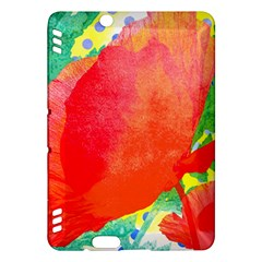 Lovely Red Poppy And Blue Dots Kindle Fire Hdx Hardshell Case by DanaeStudio