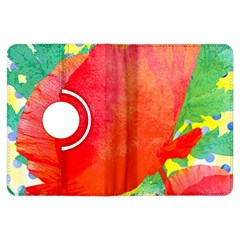 Lovely Red Poppy And Blue Dots Kindle Fire Hdx Flip 360 Case by DanaeStudio
