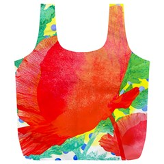 Lovely Red Poppy And Blue Dots Full Print Recycle Bags (l)