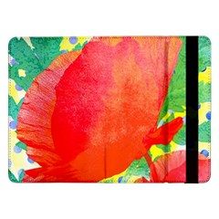 Lovely Red Poppy And Blue Dots Samsung Galaxy Tab Pro 12 2  Flip Case