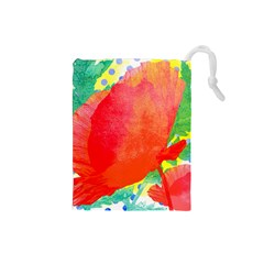 Lovely Red Poppy And Blue Dots Drawstring Pouches (small)  by DanaeStudio