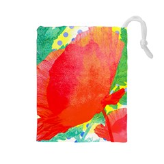 Lovely Red Poppy And Blue Dots Drawstring Pouches (large)