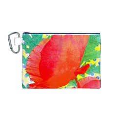 Lovely Red Poppy And Blue Dots Canvas Cosmetic Bag (m) by DanaeStudio