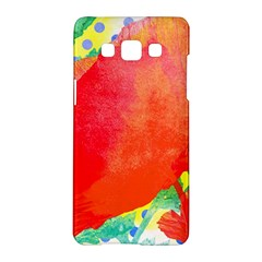 Lovely Red Poppy And Blue Dots Samsung Galaxy A5 Hardshell Case  by DanaeStudio