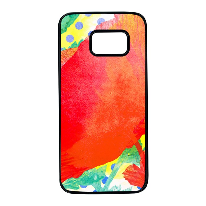 Lovely Red Poppy And Blue Dots Samsung Galaxy S7 Black Seamless Case