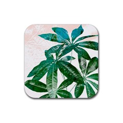 Pachira Leaves  Rubber Square Coaster (4 Pack)  by DanaeStudio