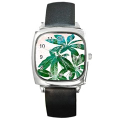 Pachira Leaves  Square Metal Watch by DanaeStudio