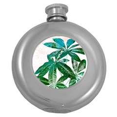 Pachira Leaves  Round Hip Flask (5 Oz) by DanaeStudio