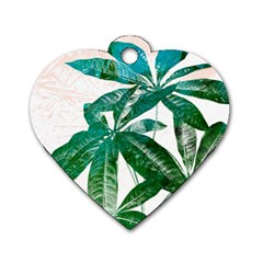 Pachira Leaves  Dog Tag Heart (one Side) by DanaeStudio