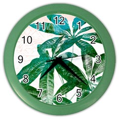 Pachira Leaves  Color Wall Clocks by DanaeStudio