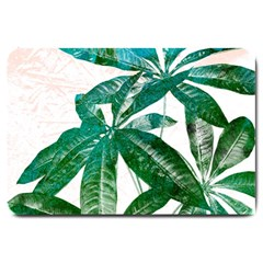 Pachira Leaves  Large Doormat  by DanaeStudio