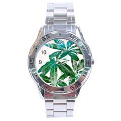 Pachira Leaves  Stainless Steel Analogue Watch