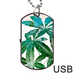 Pachira Leaves  Dog Tag Usb Flash (one Side)