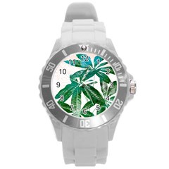 Pachira Leaves  Round Plastic Sport Watch (l)