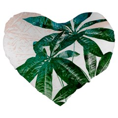 Pachira Leaves  Large 19  Premium Heart Shape Cushions