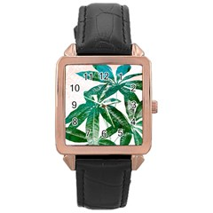 Pachira Leaves  Rose Gold Leather Watch