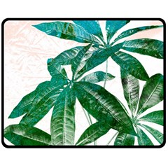 Pachira Leaves  Double Sided Fleece Blanket (medium)