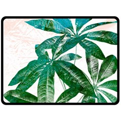 Pachira Leaves  Double Sided Fleece Blanket (large)