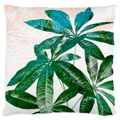 Pachira Leaves  Large Flano Cushion Case (one Side)