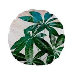 Pachira Leaves  Standard 15  Premium Flano Round Cushions