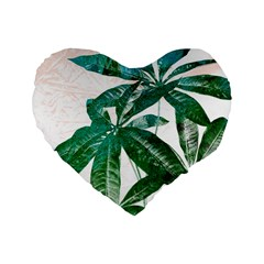 Pachira Leaves  Standard 16  Premium Flano Heart Shape Cushions