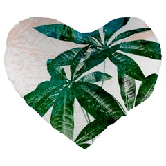 Pachira Leaves  Large 19  Premium Flano Heart Shape Cushions