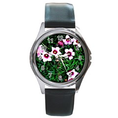 Pink Flowers Over A Green Grass Round Metal Watch
