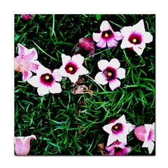 Pink Flowers Over A Green Grass Tile Coasters