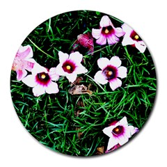 Pink Flowers Over A Green Grass Round Mousepads
