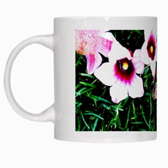 Pink Flowers Over A Green Grass White Mugs